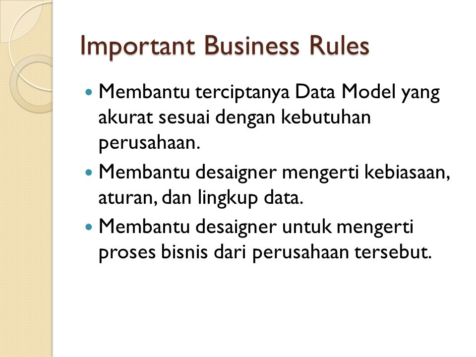 Important Business Rules