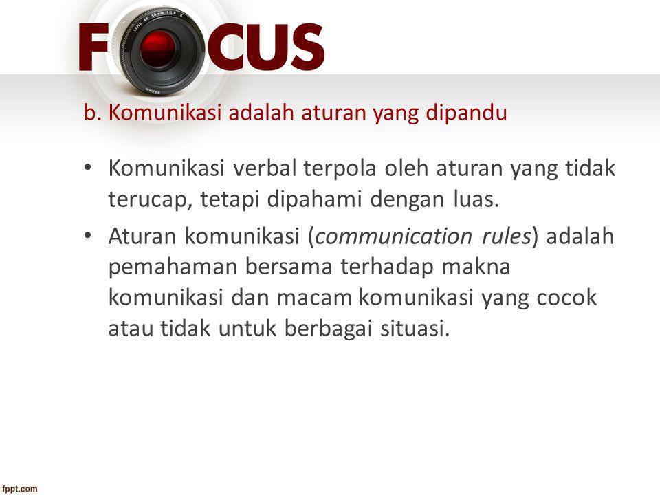 b. Komunikasi adalah aturan yang dipandu