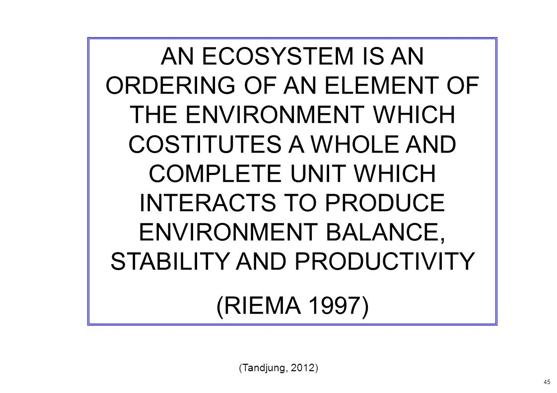 AN ECOSYSTEM IS AN ORDERING OF AN ELEMENT OF THE ENVIRONMENT WHICH COSTITUTES A WHOLE AND COMPLETE UNIT WHICH INTERACTS TO PRODUCE ENVIRONMENT BALANCE, STABILITY AND PRODUCTIVITY