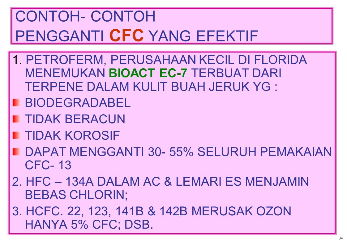 CONTOH- CONTOH PENGGANTI CFC YANG EFEKTIF