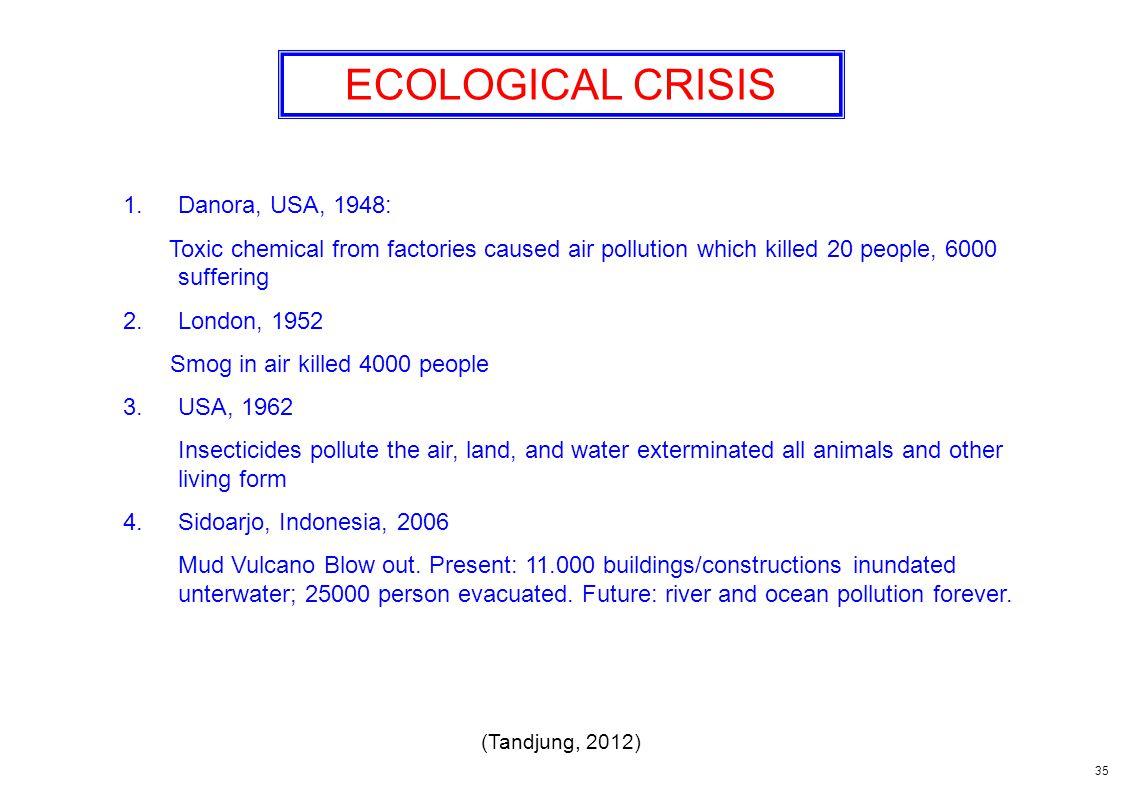 ECOLOGICAL CRISIS Danora, USA, 1948: