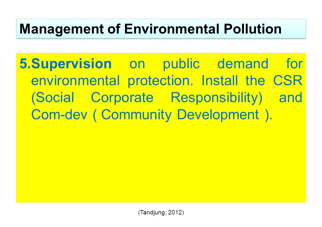 Management of Environmental Pollution