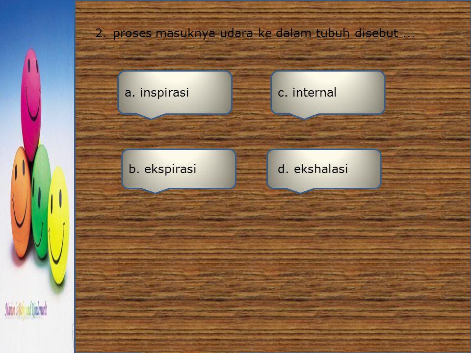 2. proses masuknya udara ke dalam tubuh disebut ...