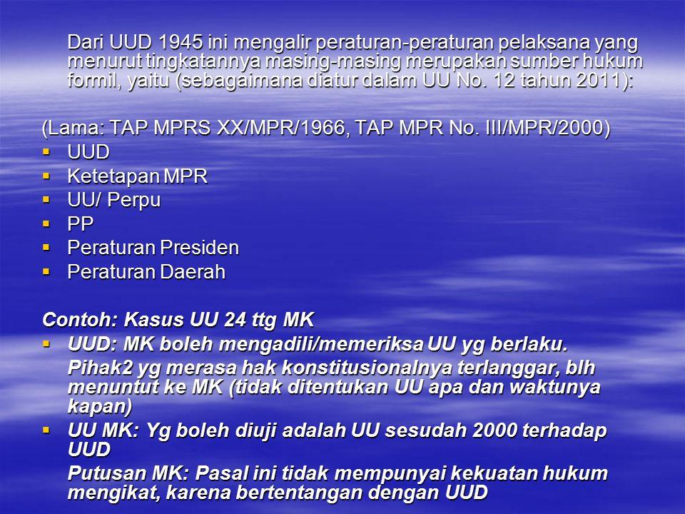 (Lama: TAP MPRS XX/MPR/1966, TAP MPR No. III/MPR/2000) UUD
