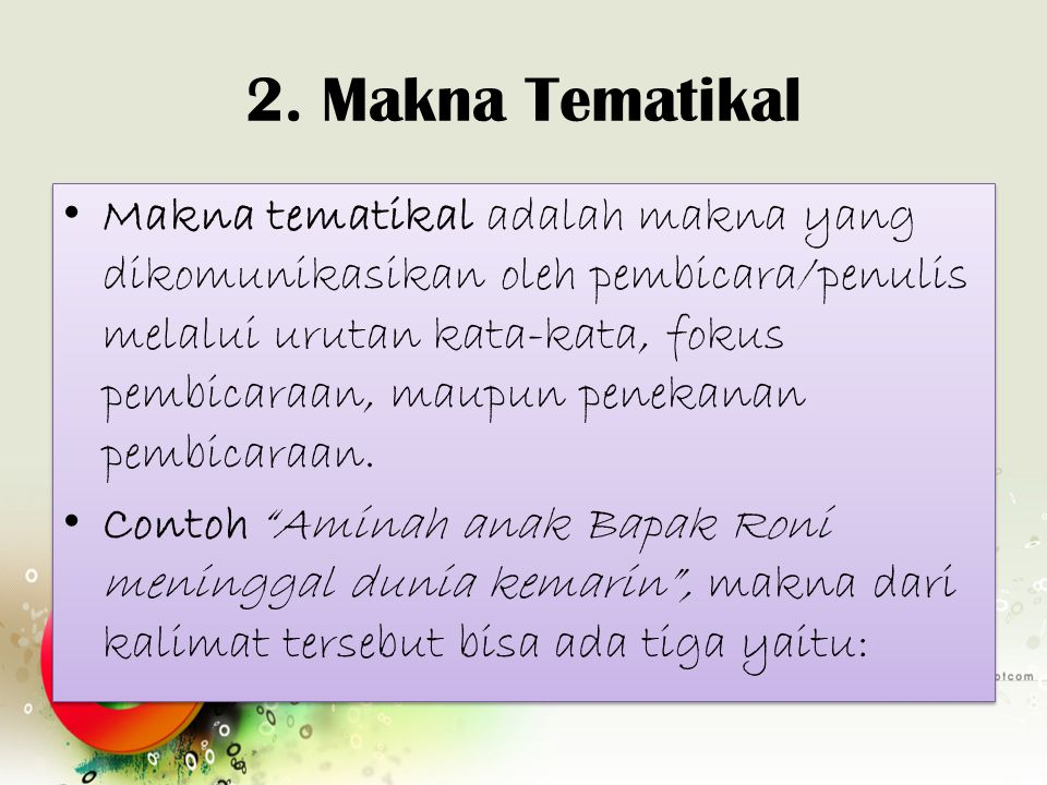 2. Makna Tematikal