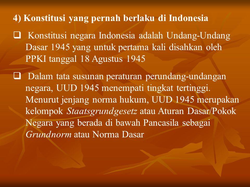4) Konstitusi yang pernah berlaku di Indonesia