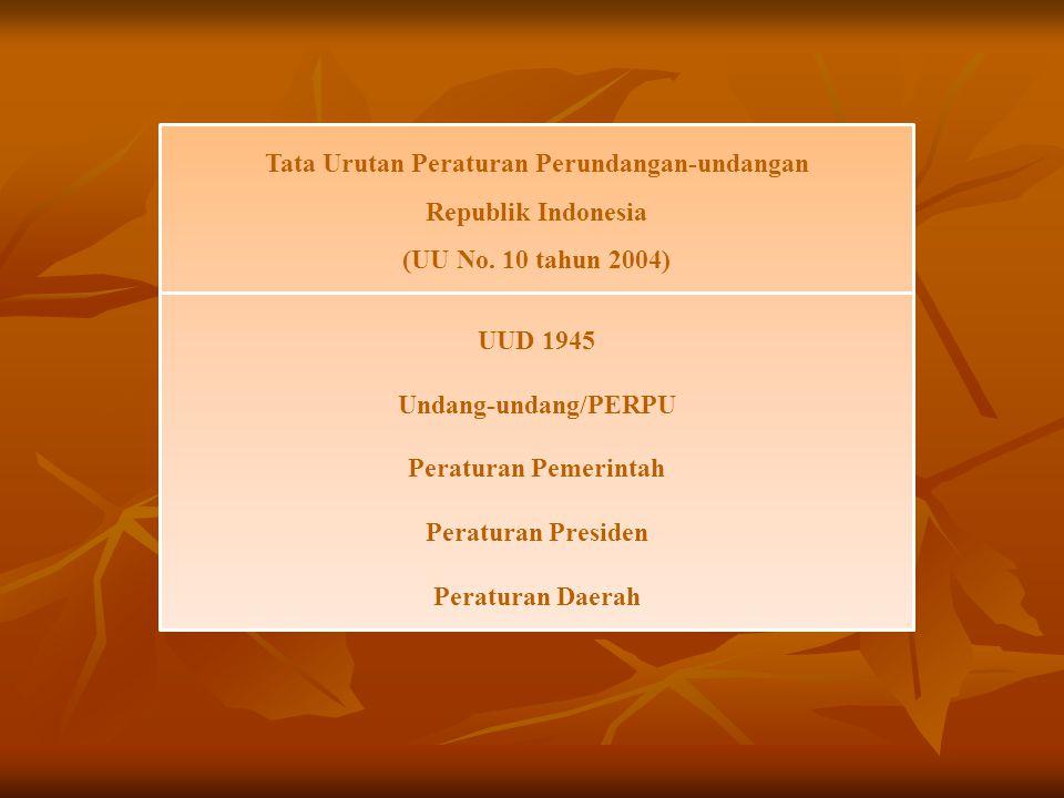Tata Urutan Peraturan Perundangan-undangan