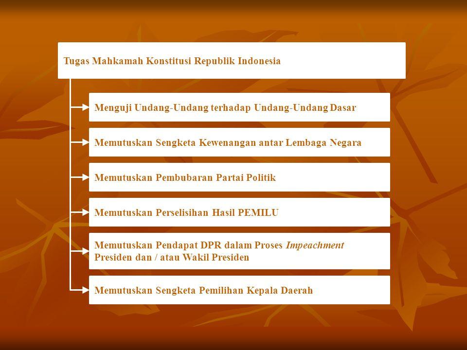 Tugas Mahkamah Konstitusi Republik Indonesia