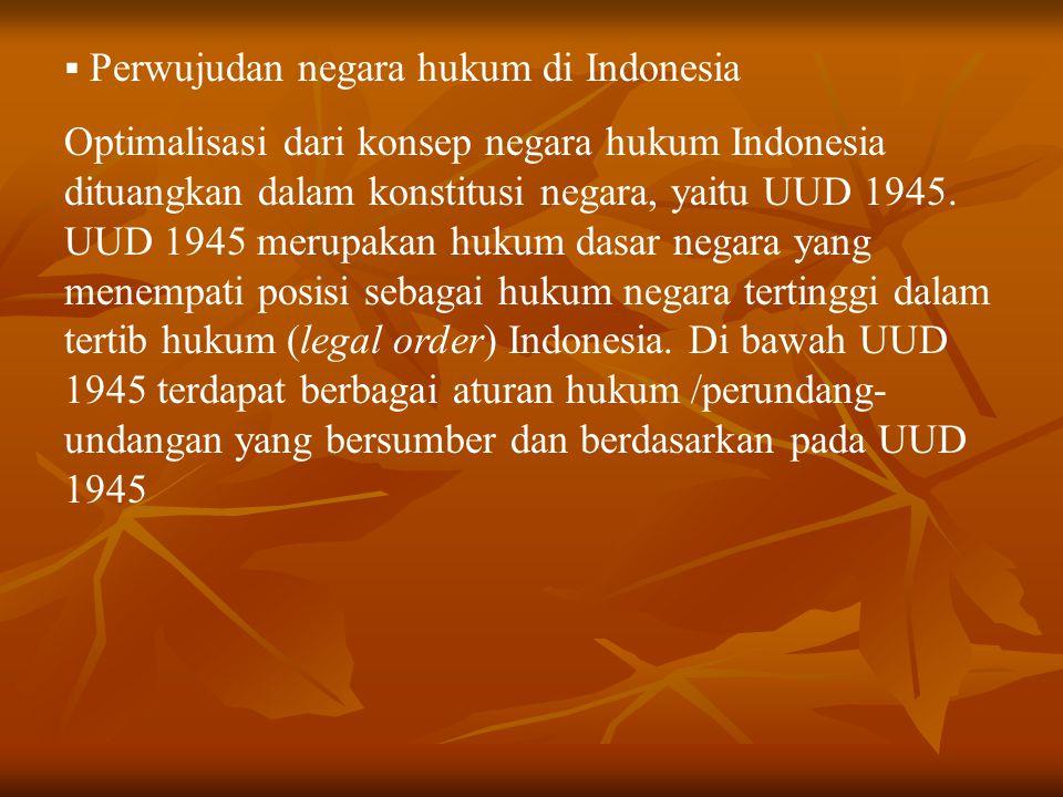 Perwujudan negara hukum di Indonesia