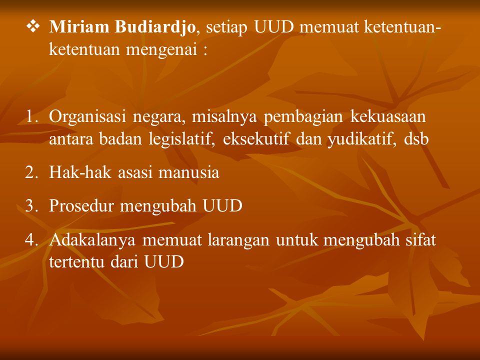Miriam Budiardjo, setiap UUD memuat ketentuan-ketentuan mengenai :