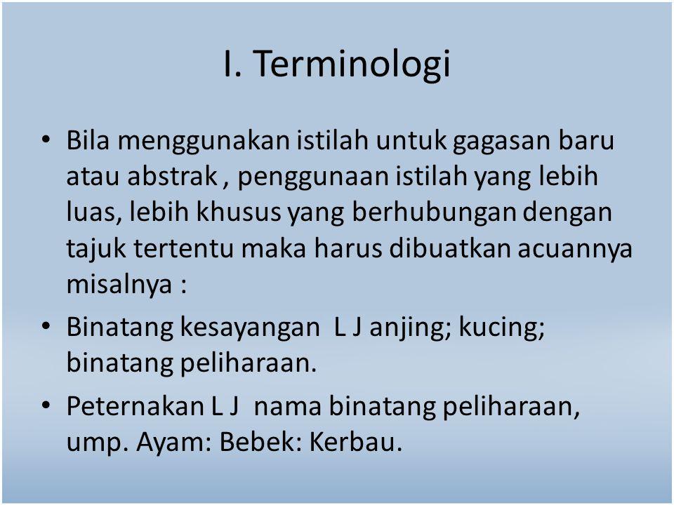 I. Terminologi