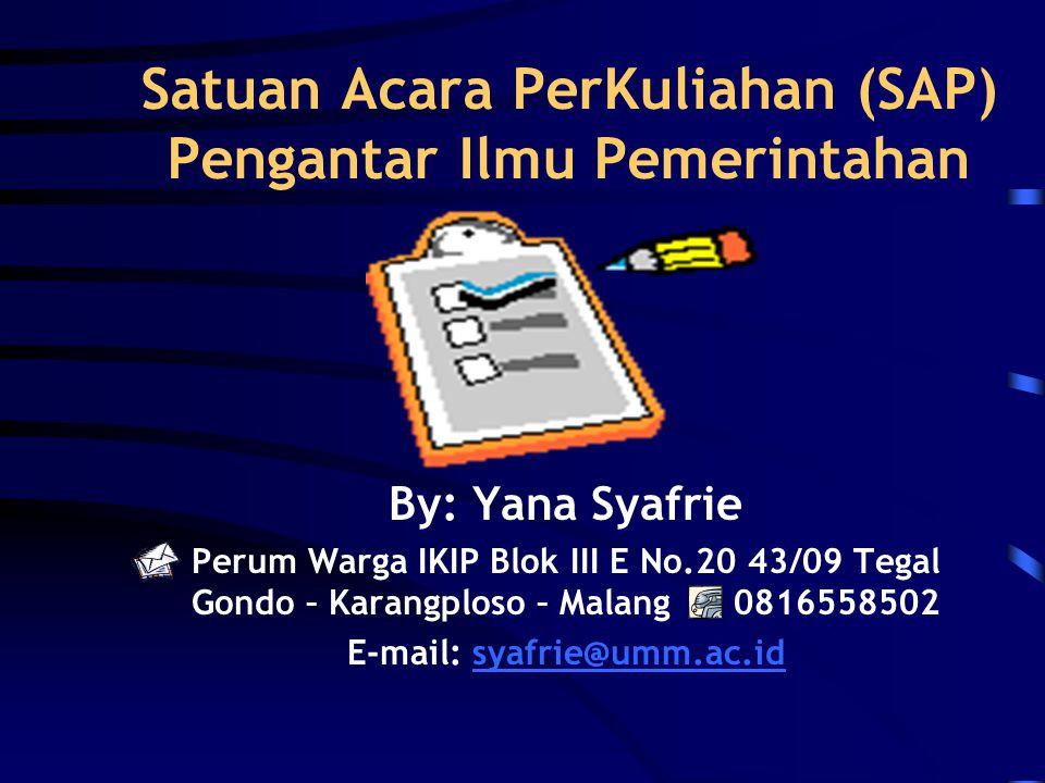 Satuan Acara PerKuliahan (SAP) Pengantar Ilmu Pemerintahan