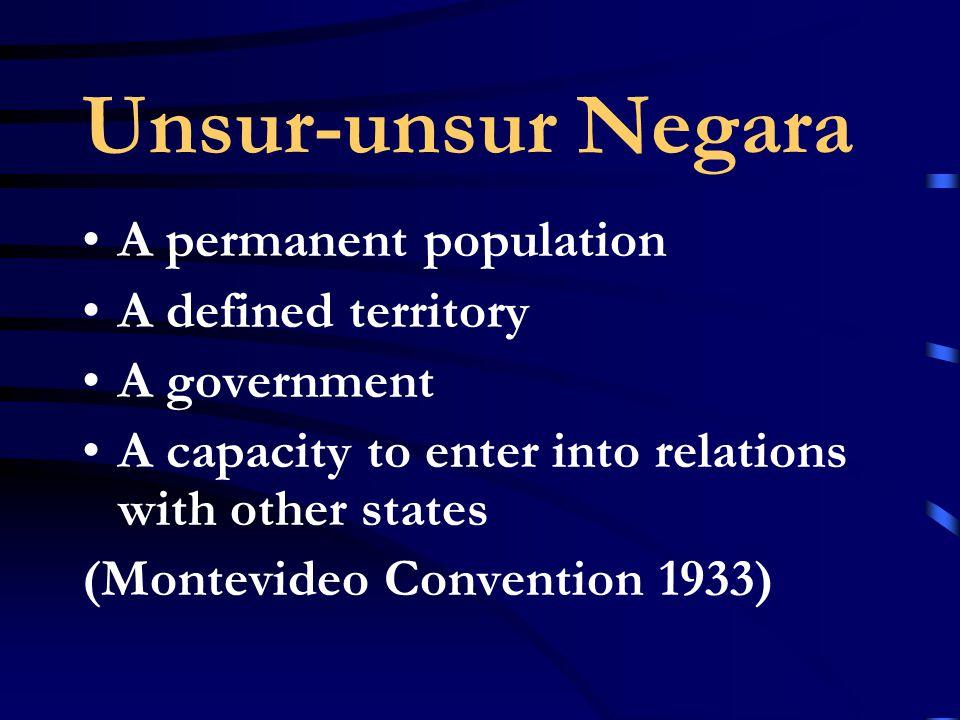 Unsur-unsur Negara A permanent population A defined territory