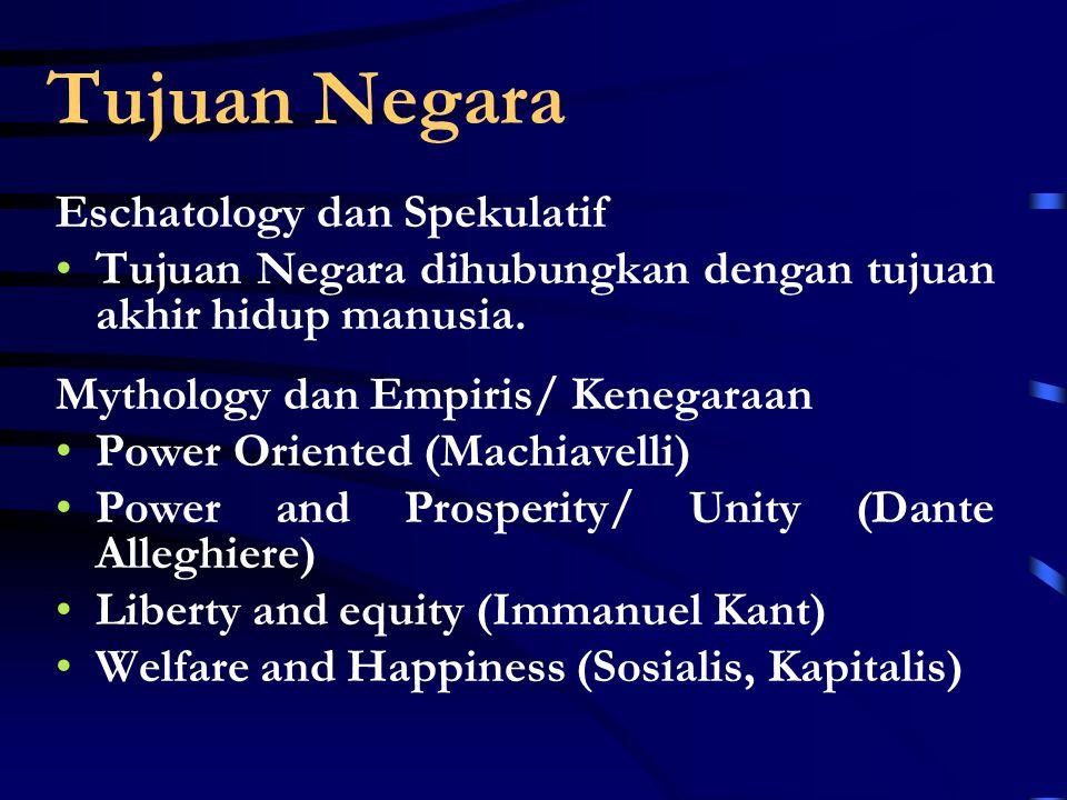 Tujuan Negara Eschatology dan Spekulatif