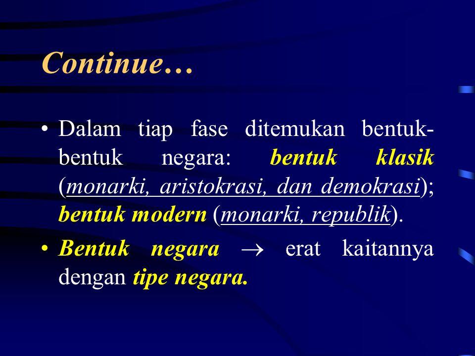 Continue… Dalam tiap fase ditemukan bentuk-bentuk negara: bentuk klasik (monarki, aristokrasi, dan demokrasi); bentuk modern (monarki, republik).