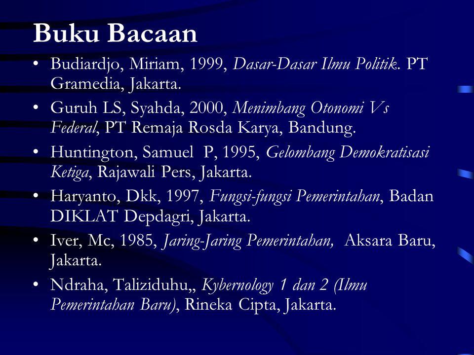 Buku Bacaan Budiardjo, Miriam, 1999, Dasar-Dasar Ilmu Politik. PT Gramedia, Jakarta.