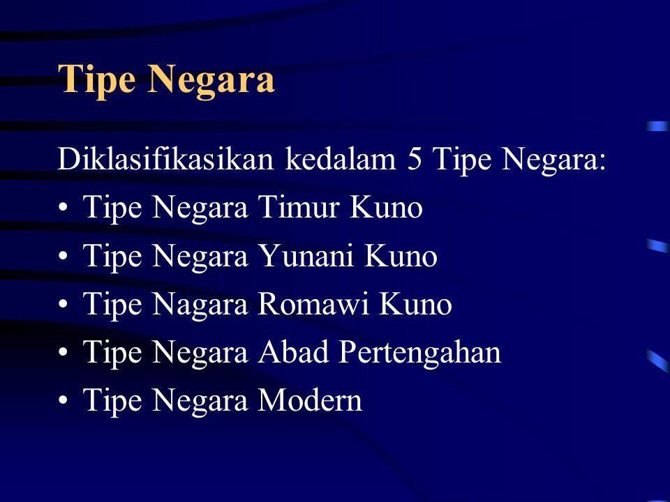 Tipe Negara Diklasifikasikan kedalam 5 Tipe Negara: