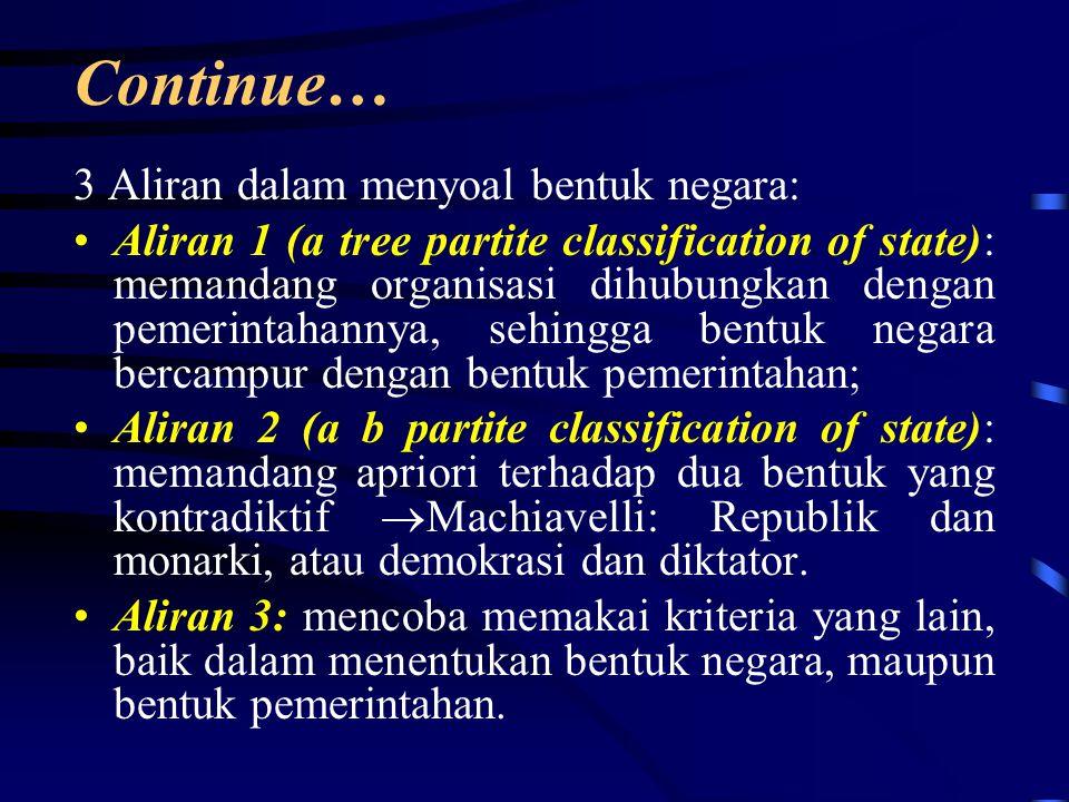 Continue… 3 Aliran dalam menyoal bentuk negara: