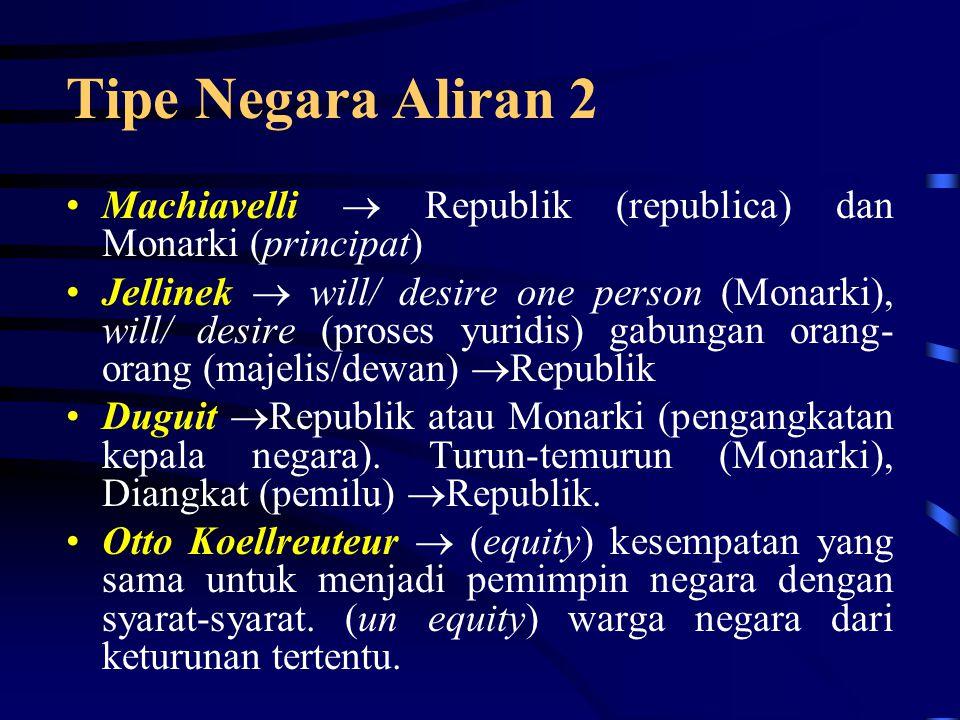Tipe Negara Aliran 2 Machiavelli  Republik (republica) dan Monarki (principat)