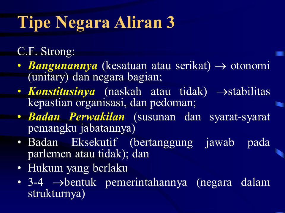 Tipe Negara Aliran 3 C.F. Strong: