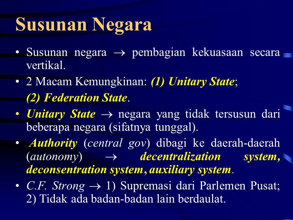Susunan Negara Susunan negara  pembagian kekuasaan secara vertikal.