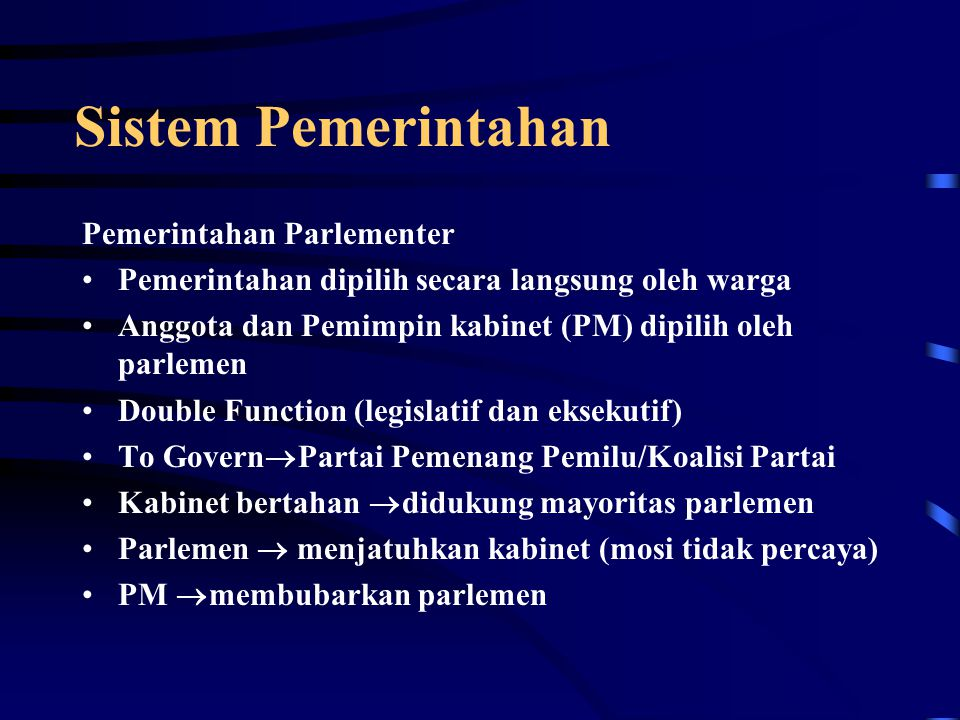 Sistem Pemerintahan Pemerintahan Parlementer