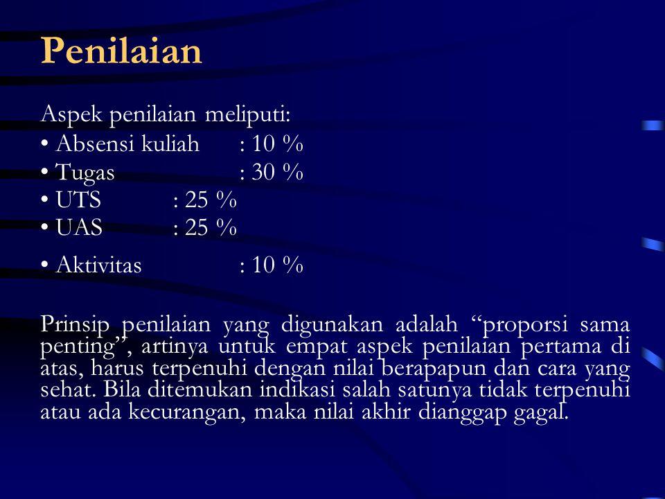 Penilaian Aspek penilaian meliputi: Absensi kuliah : 10 % Tugas : 30 %