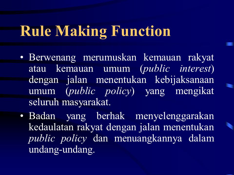 Rule Making Function