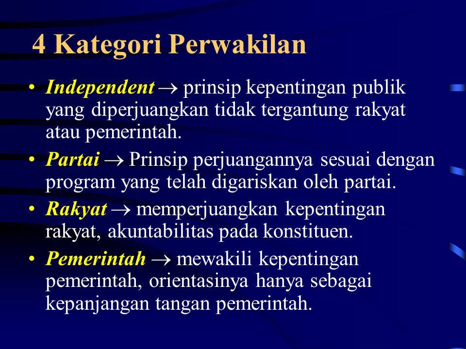 4 Kategori Perwakilan Independent  prinsip kepentingan publik yang diperjuangkan tidak tergantung rakyat atau pemerintah.