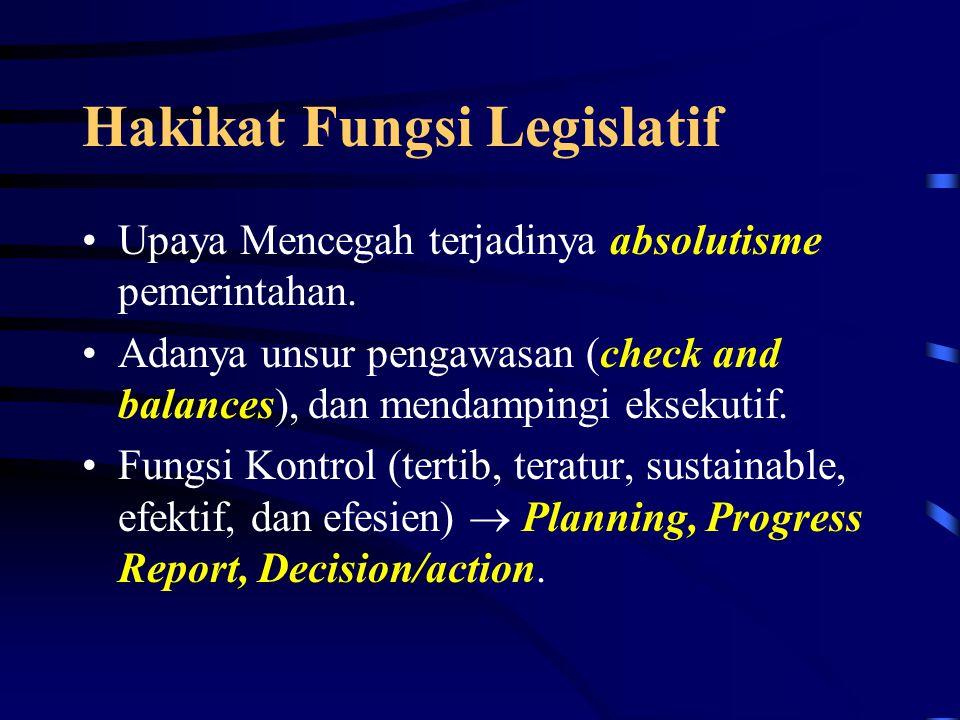 Hakikat Fungsi Legislatif
