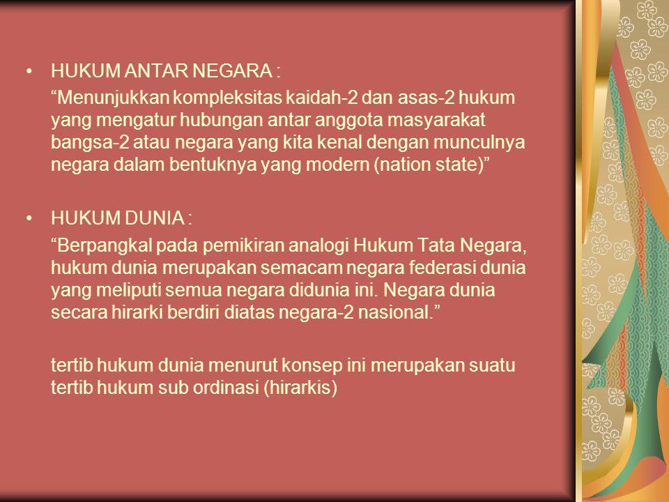 HUKUM ANTAR NEGARA :