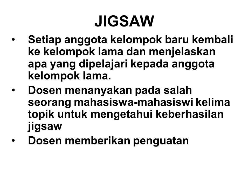 JIGSAW Setiap anggota kelompok baru kembali ke kelompok lama dan menjelaskan apa yang dipelajari kepada anggota kelompok lama.