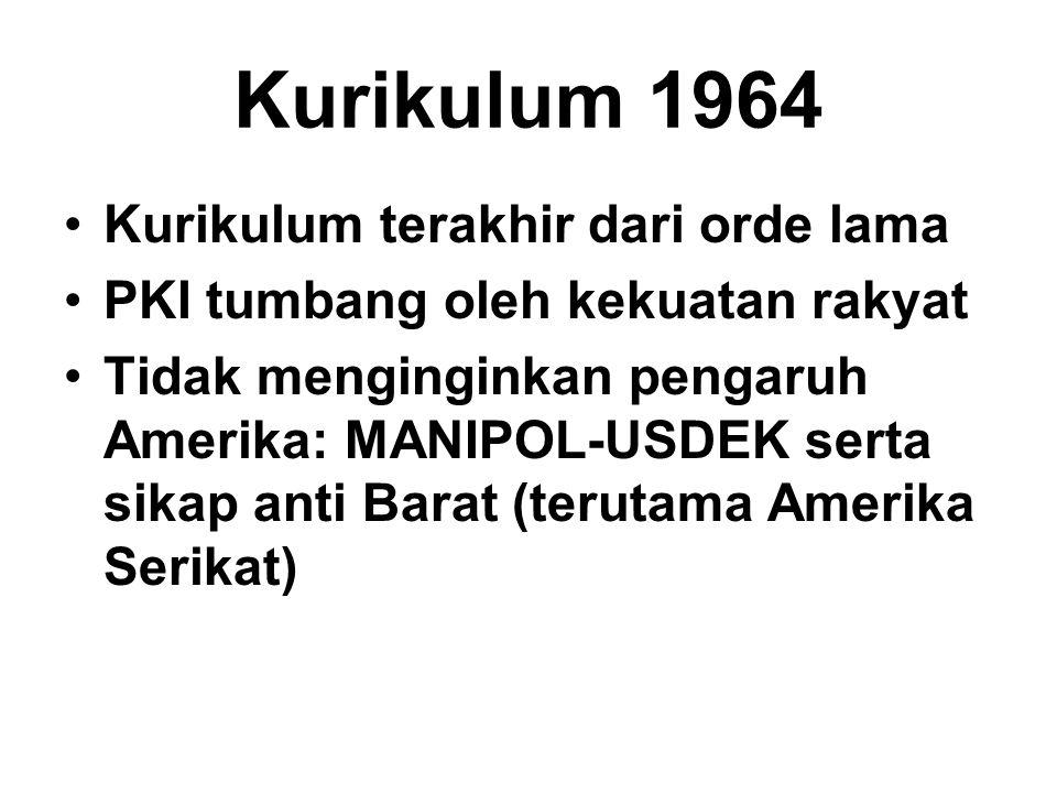 Kurikulum 1964 Kurikulum terakhir dari orde lama