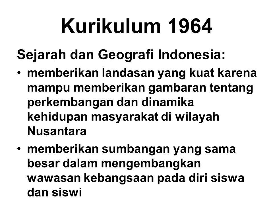 Kurikulum 1964 Sejarah dan Geografi Indonesia: