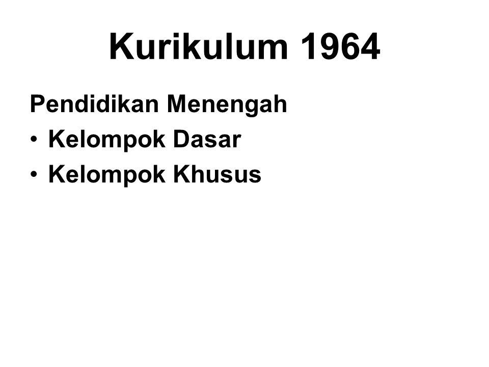 Kurikulum 1964 Pendidikan Menengah Kelompok Dasar Kelompok Khusus