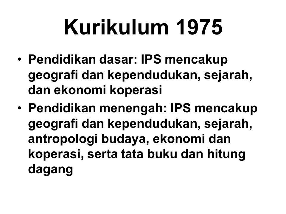 Kurikulum 1975 Pendidikan dasar: IPS mencakup geografi dan kependudukan, sejarah, dan ekonomi koperasi.