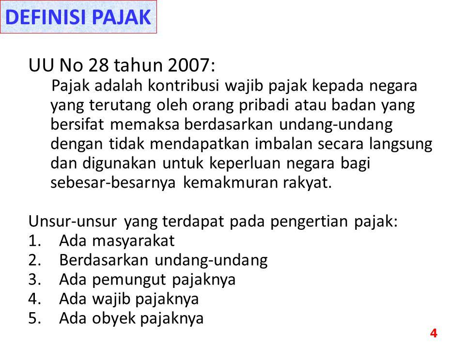 DEFINISI PAJAK UU No 28 tahun 2007: