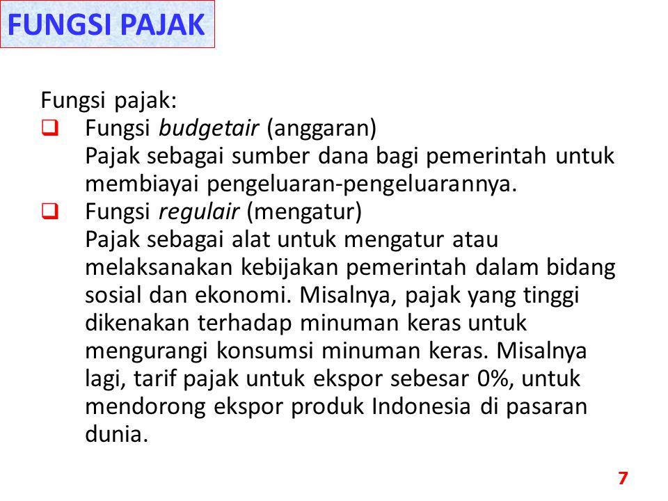 FUNGSI PAJAK Fungsi pajak: Fungsi budgetair (anggaran)