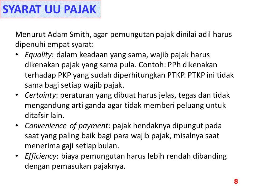 SYARAT UU PAJAK Menurut Adam Smith, agar pemungutan pajak dinilai adil harus dipenuhi empat syarat: