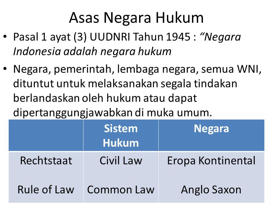 Asas Negara Hukum Pasal 1 ayat (3) UUDNRI Tahun 1945 : Negara Indonesia adalah negara hukum.