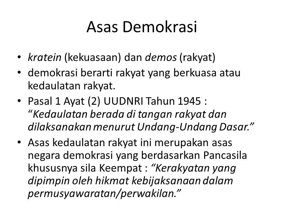 Asas Demokrasi kratein (kekuasaan) dan demos (rakyat)