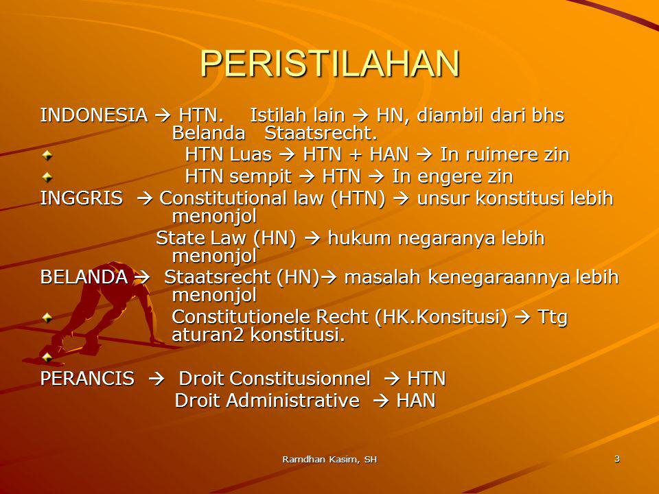 PERISTILAHAN INDONESIA  HTN. Istilah lain  HN, diambil dari bhs Belanda Staatsrecht. HTN Luas  HTN + HAN  In ruimere zin.