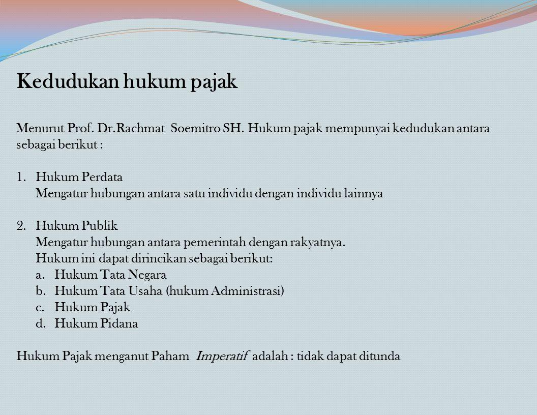 Kedudukan hukum pajak Menurut Prof. Dr.Rachmat Soemitro SH. Hukum pajak mempunyai kedudukan antara sebagai berikut :