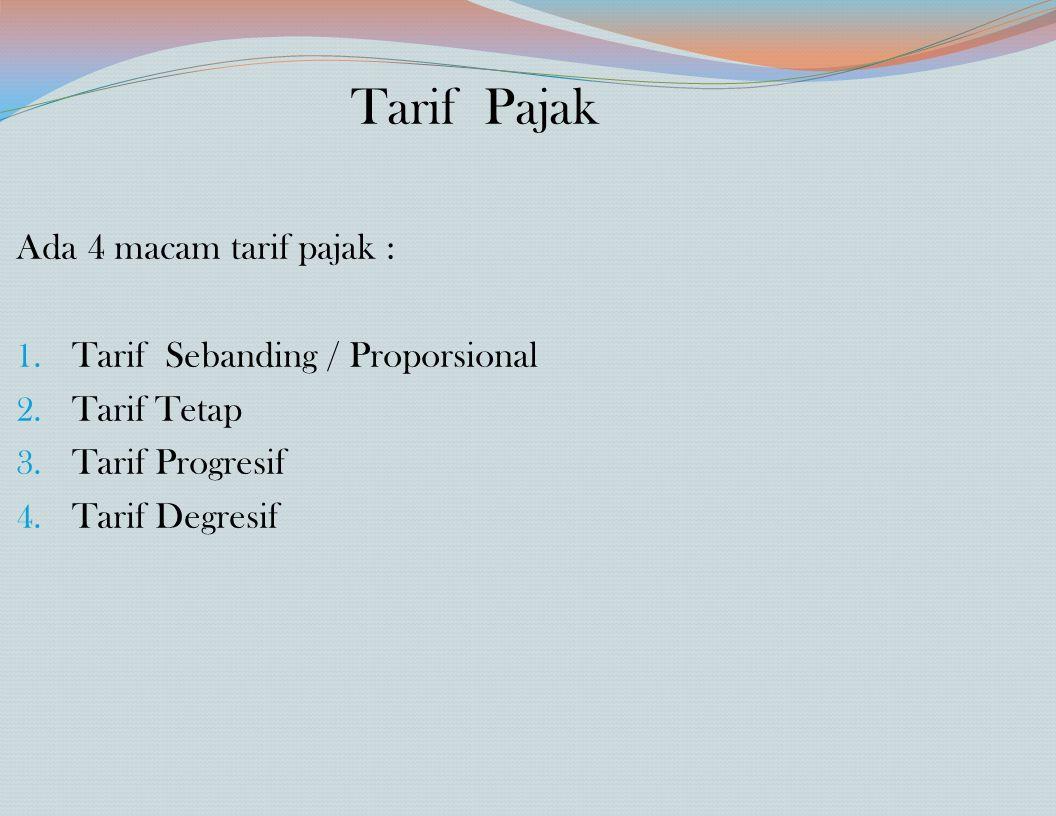 Tarif Pajak Ada 4 macam tarif pajak : Tarif Sebanding / Proporsional