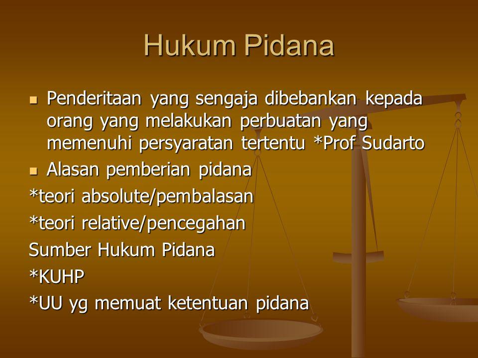 Hukum Pidana Penderitaan yang sengaja dibebankan kepada orang yang melakukan perbuatan yang memenuhi persyaratan tertentu *Prof Sudarto.