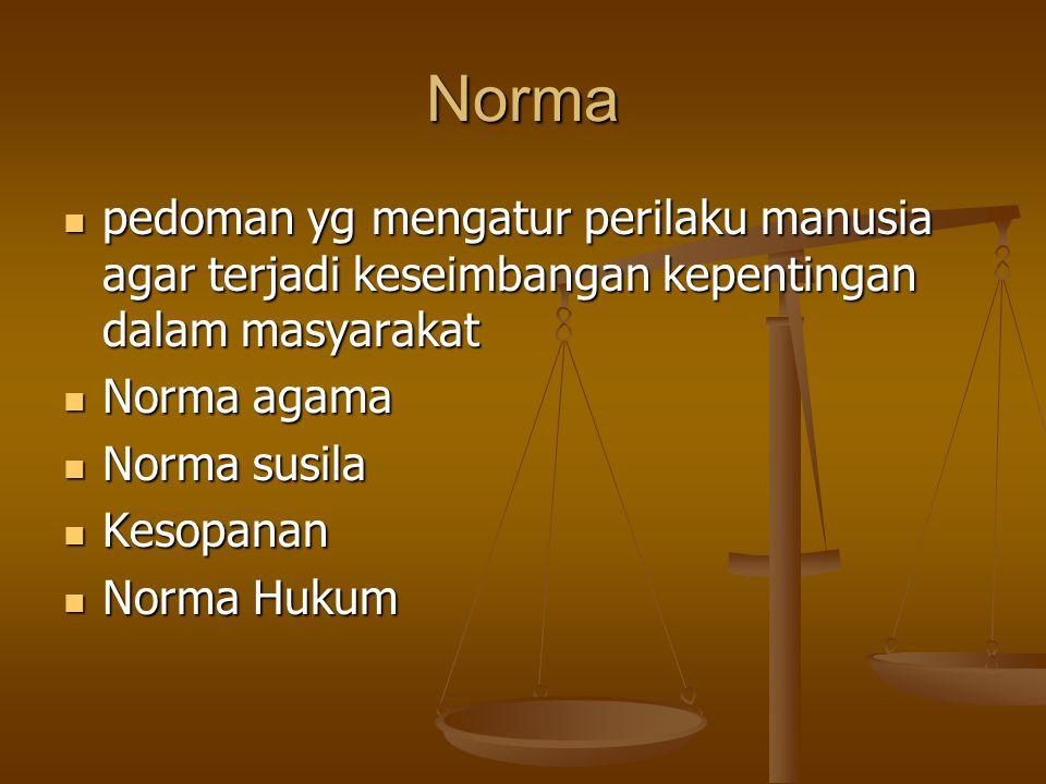 Norma pedoman yg mengatur perilaku manusia agar terjadi keseimbangan kepentingan dalam masyarakat. Norma agama.