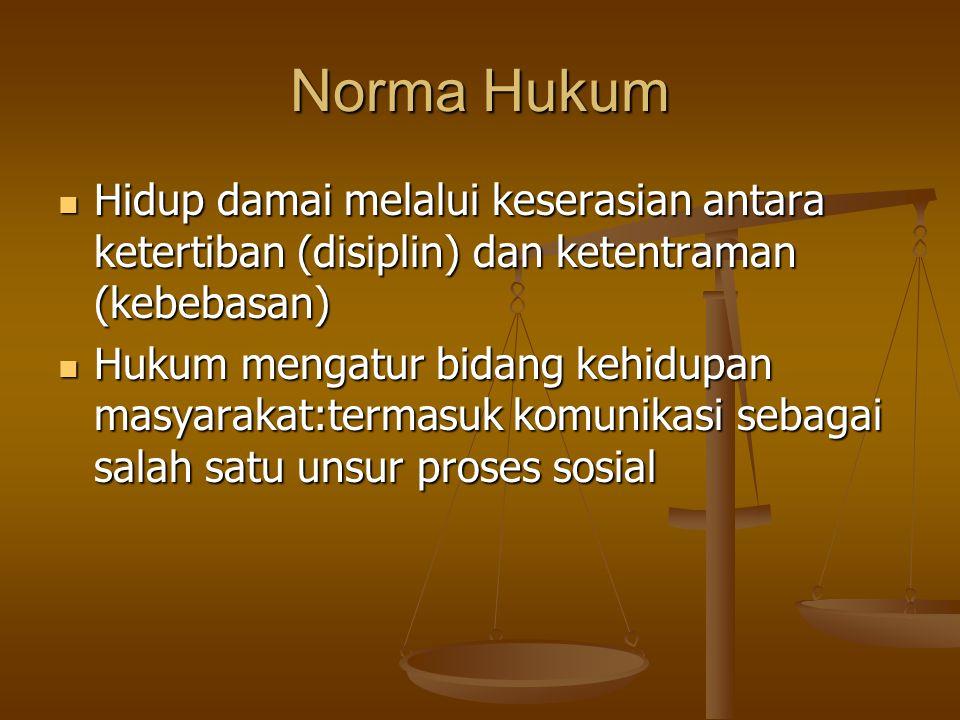 Norma Hukum Hidup damai melalui keserasian antara ketertiban (disiplin) dan ketentraman (kebebasan)