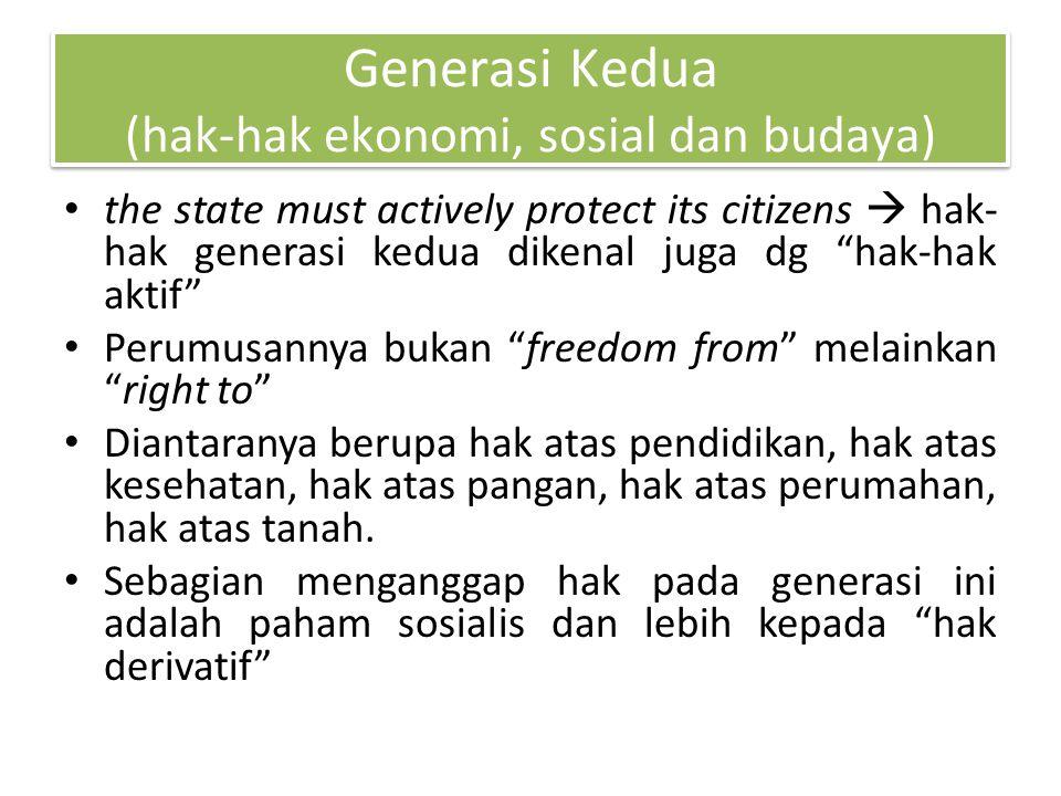 Generasi Kedua (hak-hak ekonomi, sosial dan budaya)