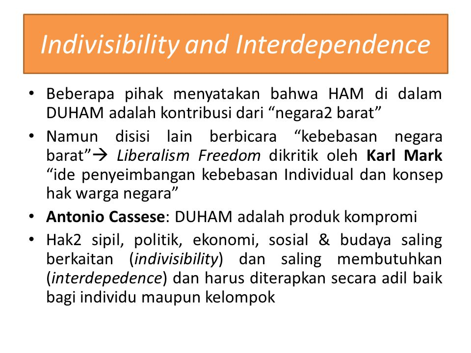 Indivisibility and Interdependence