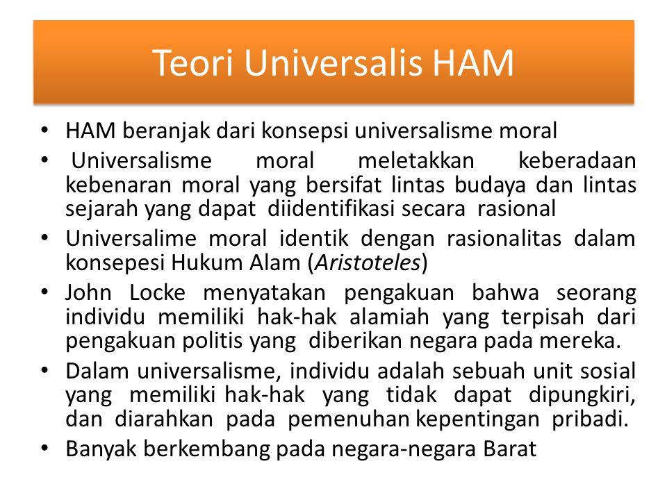 Teori Universalis HAM HAM beranjak dari konsepsi universalisme moral